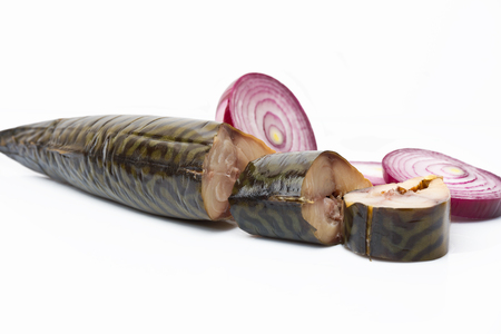coldwater: Pieces of smoked mackerel and red onion on white background