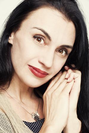 elegantly: Portrait of elegantly young gorgeous brunette woman.