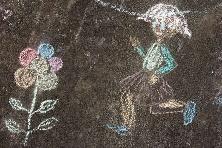 baby playing toy: Detail of colorful chalk picture on the pavement with chalk child Stock Photo