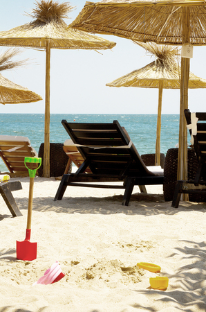 Sun loungers on the beach,black sea Stock Photo