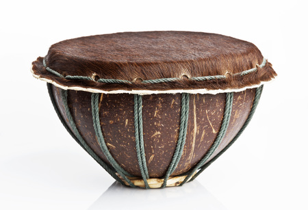 djembe drum: Original african djembe drum with leather lamina with beautiful hair on white background