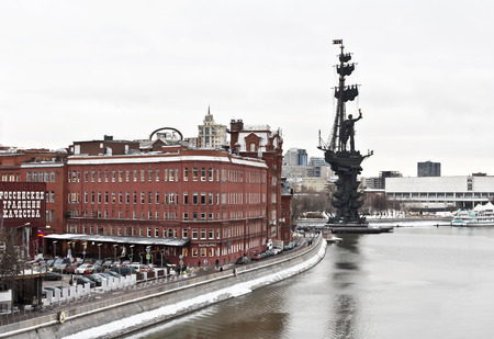 sculp: Moscow, Russia - December 29, 2016: Winter Moscow, Monument to Peter the Great on the Moscow River landmark sculptor Tsereteli winter sunset time. Editorial