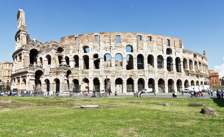 Rome, Italy - March 12, 2017: View on Coliseum. It was started in 72 AD under the emperor Vespasian and was completed in 80 AD, in Rome, Italy