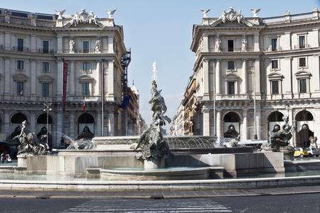 Rome, Italy - April 13, 2017: The Fountain of the Naiads on Piazza della Repubblica