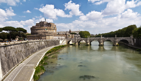 Rome, Italy - April 14, 2017: View on the famous Saint Angel castle and bridge over the Tiber river in Rome, Italy