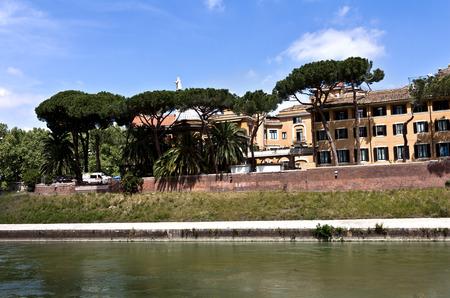 tiber: Rome, Italy - April 15, 2017: Panoramic view over Isola Tiberina (Tiberina Island), Roma, Italy Editorial