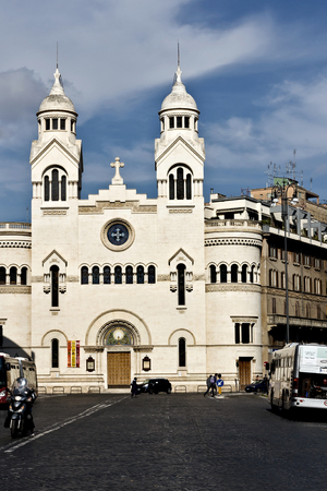 Rome, Italy - April 15, 2017: Valdese Evangelical church at Piazza Cavour. Rome, Italy