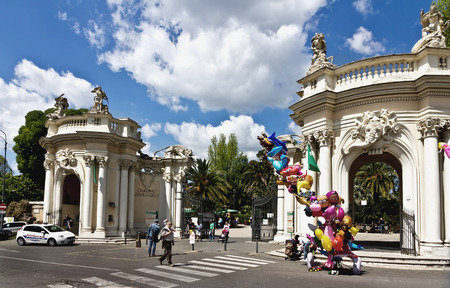 Rome, Italy - March 16, 2017: Entrance to Bioparco zoo at Villa Borghese (18th century). Rome. Italy