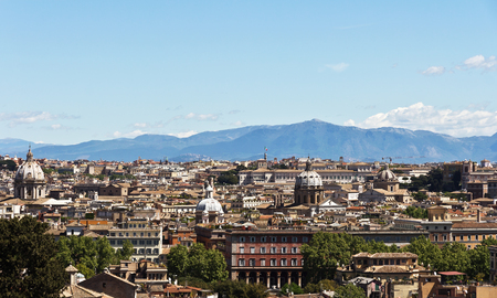 Rome, Italy - April17, 2017: Panorama of Rome from the Janiculum hill Editorial