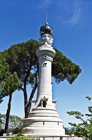 Rome, Italy - April 17, 2017: Manfredi Lighthouse on the hill Gianiculum in Rome, Italy. Built in 1911, it was a gift from Italy immigrants in Argentina to Rome.