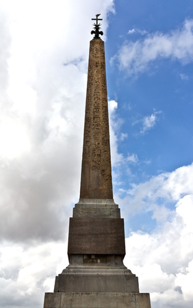 Rome, Italy - April 18, 2017: Egyptian obelisk in front of Church Trinita del Monti in Rome. This Egyptian obelisk was erected in 1789 and it is 13.91metres high without the base.