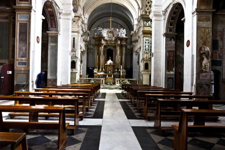 Rome, Italy - April 18, 2017: Interior of the Church Trinita del Monti, also Santissima Trinità al Monte Pincio - titular church (from April 13, 1587) in Rome, on top of the Spanish Steps.