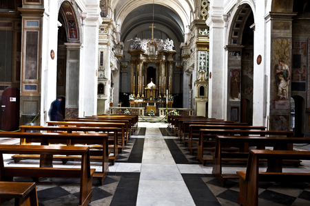 Rome, Italy - April 18, 2017: Interior of the Church Trinita del Monti, also Santissima Trinit� al Monte Pincio - titular church (from April 13, 1587) in Rome, on top of the Spanish Steps.