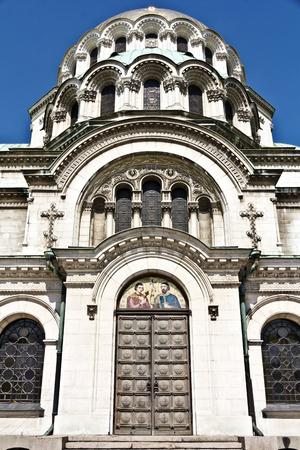 Sofia, Bulgaria - April 10, 2017: Alexander Nevsky Cathedral in city of Sofia, Bulgaria.Was erected in honor of the liberation of Bulgaria during the Russo-Turkish War: the first stone was laid in 1882, but the construction itself began in 1904. Stock Photo
