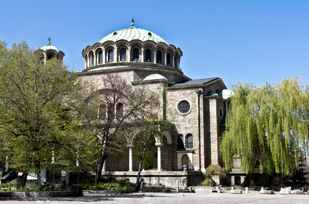 Sofia, Bulgaria - April 10, 2017: Cathedral of the Holy Week - the Cathedral of the Sophia Metropolis, the Bulgarian Orthodox Church