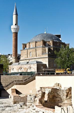 Banya Bashi Mosque and ruins of ancient Serdica, Sofia, Bulgaria.