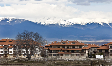 Panoramic view at spring in Bansko town