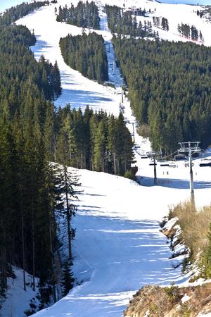 Slope of ski resort in Bansko, Bulgaria Stock Photo