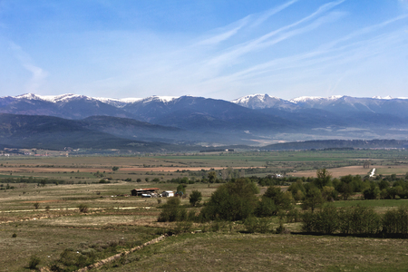 One of the views of Bansko, Bulgaria in spring time Stock Photo