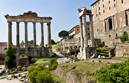 Roman Forum - square in the heart of ancient Rome, along with the surrounding buildings. Stock Photo