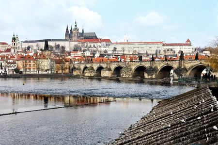 City of Prague in Prague over Vltava river Prague City, Stockfoto