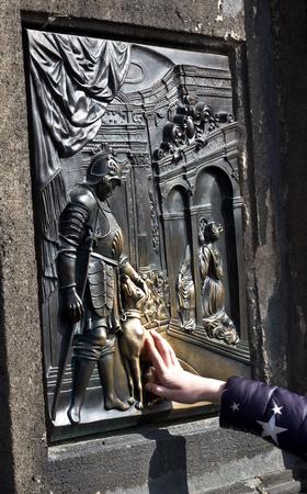 Charles bridge Praha a bronze plaque Stock Photo - 113392417