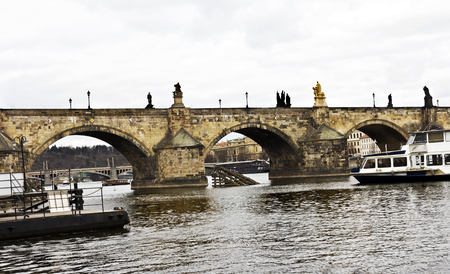 Charles Bridge, a famous historic bridge that crosses the Vltava river