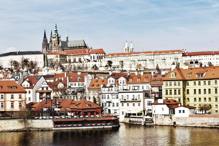 City of Prague over the Vltava river, City of Prague, above the River Stockfoto