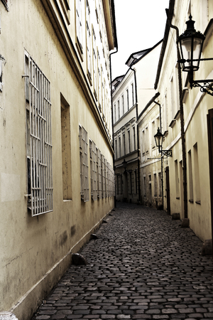 Antique architecture street in Prague, Czech repub