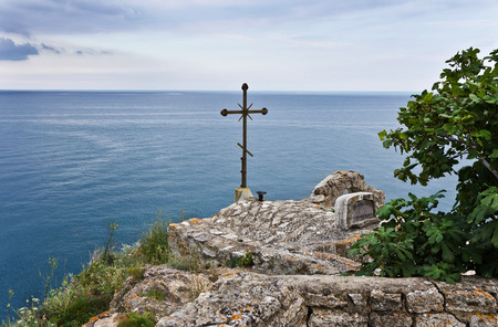 Chapel of St. Nicholas at Cape Kaliakra in Bulgaria Stockfoto