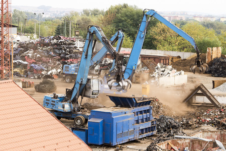 Scrapyard machines in action