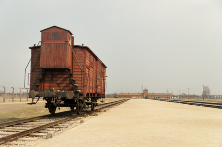 Railway platform with a carriage, coach on Oswiecim concentration camp.