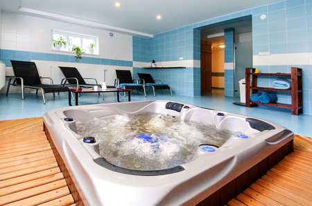 finnish bath: Relaxation zone with sauna from outside. Stock Photo