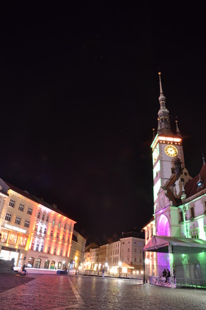 Olomouc Czech Rep 28th September Olomouc main square with astronomical clock and historical houses being lit up by color lights Editorial