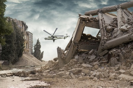 View on a collapsed concrete industrial building with attack helicopters Mi24 in dark dramatic sky above