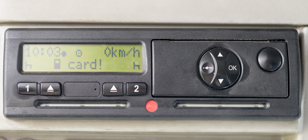 Digital tachograph display reads CARD . No inserted card in the device. Insert the drivers card. No personal data 免版税图像