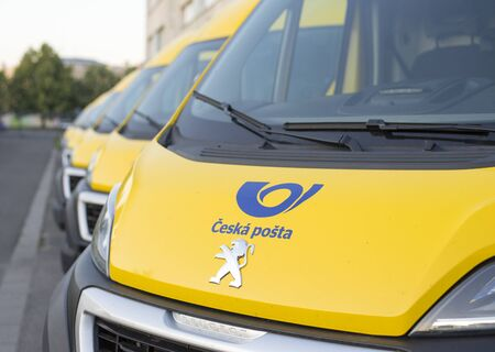 Olomouc Czech Rep 23th July 2019 yellow Czech Post Office vans parked in a line. Lined up Peuegeot Boxer vans of Cesk Posta.