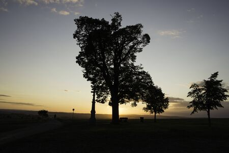 Tree silhouette in sunset with a wayside cross with field and road. Calvary in landscape. Olomouc Czech Republic. 免版税图像