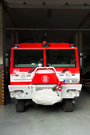 Prostejov, Czech Rep, Aug 14th. Red Tatra truck of the Czech fire brigade. Firefighter special vehicle 新闻类图片
