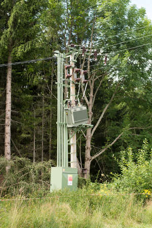 Jesenik, Czech Rep Aug 12th 2017. Damaged electric distribution transformer in the Czech Republic. Power outage after wind storm.