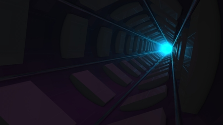 deepness: sci-fi tunnel with stronge blue light in the end Stock Photo