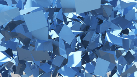destructed: destructed and shattered blue pieces