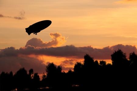 high winds: Hot air balloon on sunset