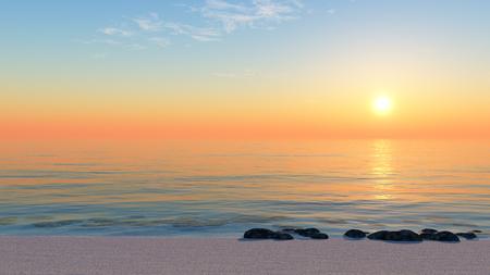 Estate del paesaggio, il tramonto su una spiaggia sabbiosa.