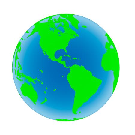 madre tierra: Madre Tierra con los oc�anos azules y continentes verdes aisladas sobre un fondo blanco.