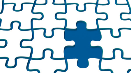 missing link: snow puzzle with one missing link and water in joints