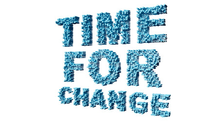 text 3d: time for change text 3d isolated over white background