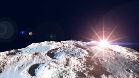 meteorites: planets at sunrise in outer space. Stock Photo