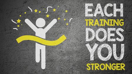 Running stick man and motivation slogan slogan on the wall. Stock Photo