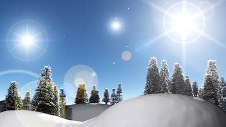 stellar: Winter night landscape with snowdrifts, night stellar sky and bright moon.